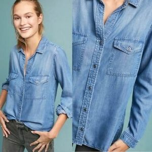 Anthropologie Cloth & Stone Chambray Buttondown S